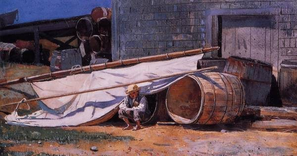 Boy in a Boatyard aka Boy with Barrels